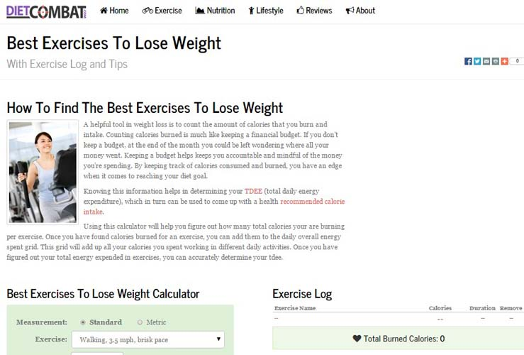 Excercise Weight Loss Calculator