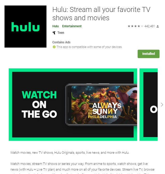 Hulu Android app on Google Play